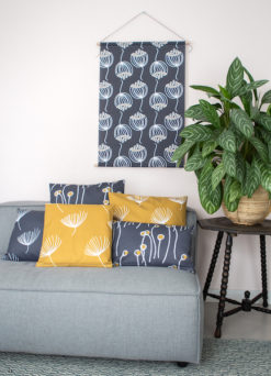 Textile poster and pillows