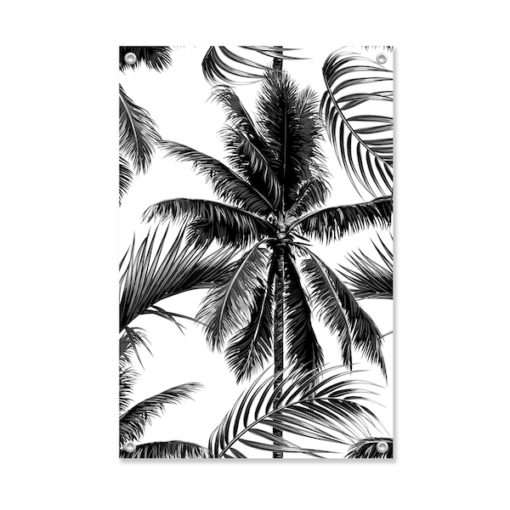 Tuinposter Palm Black and White