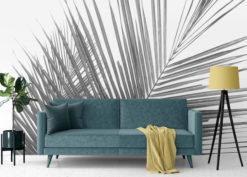 woonkamer naadloos behang palm