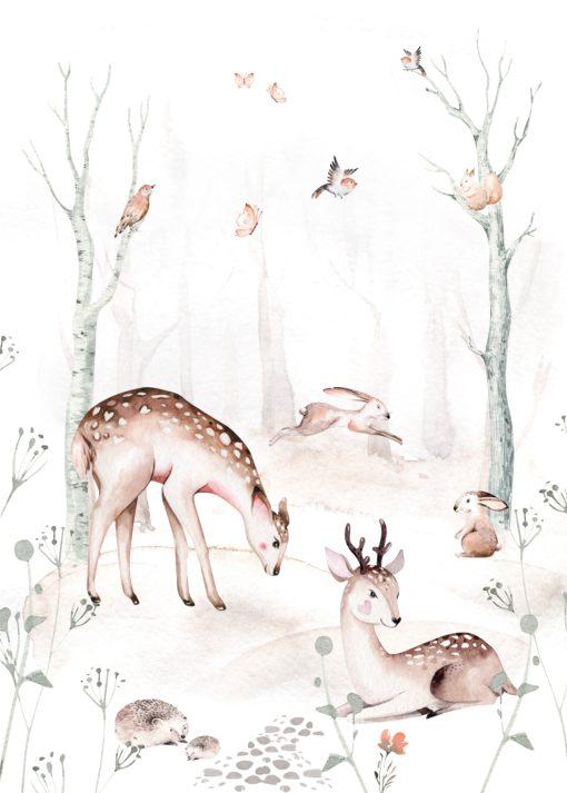 naadloos fotobehang dieren in het bos